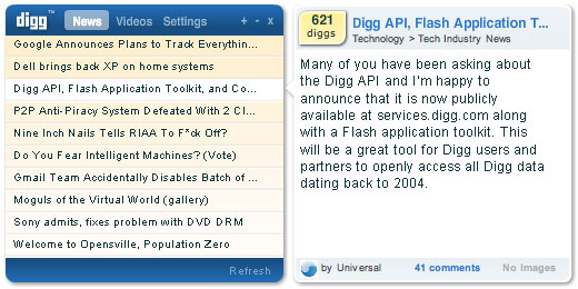 Digg Reader / Viewer application for MacOSX and Windows