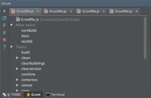Grunt Panel in WebStorm, showing the EaselJS tasks