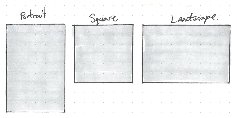 Portrait, square, landscape. Shapes may require different art.