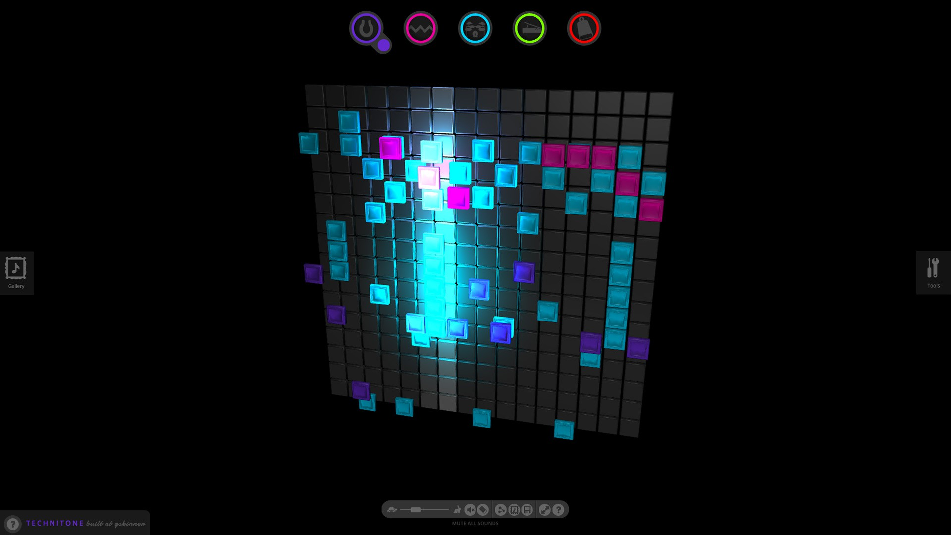 The new Technitone grid, powered by three.js