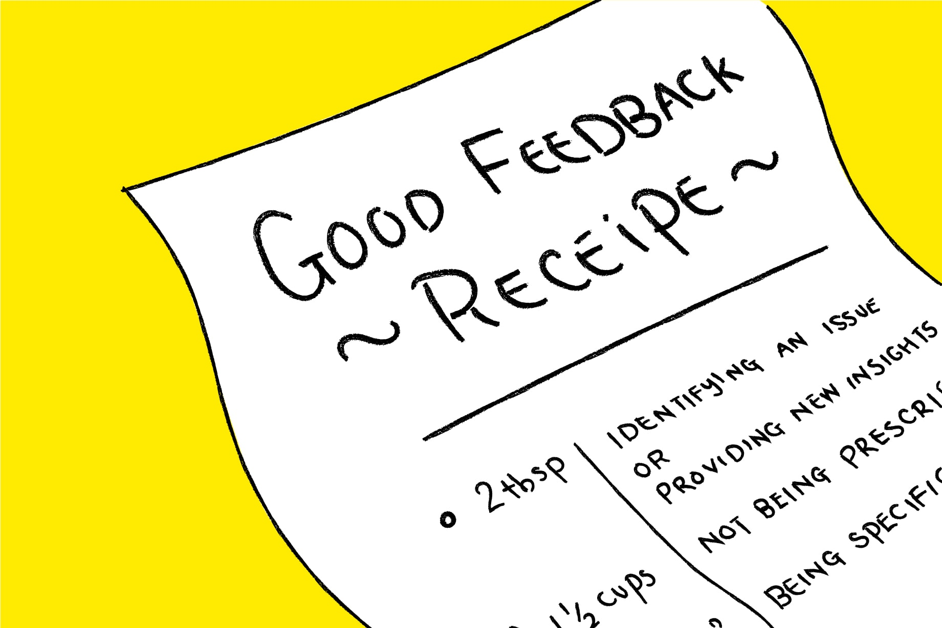 "A recipe card titled ""Good Feedback Recipe"""