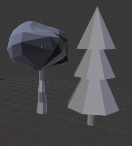 little gray low-poly trees