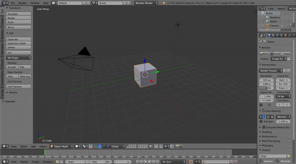 New Blender 3D window with cube