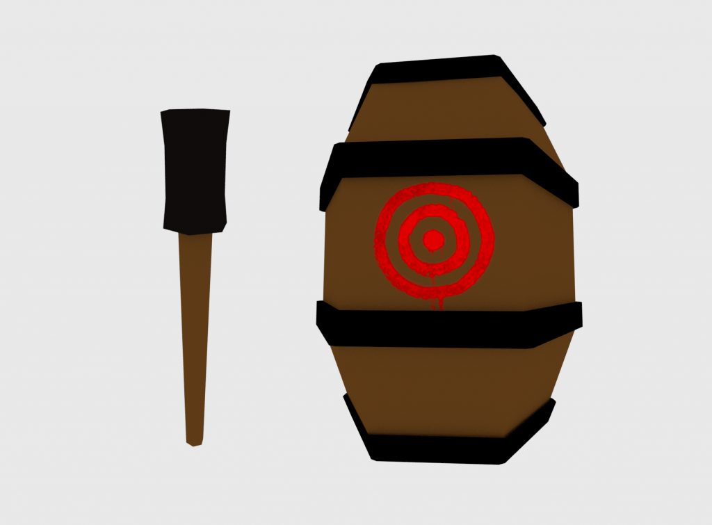 low poly torch and barrel