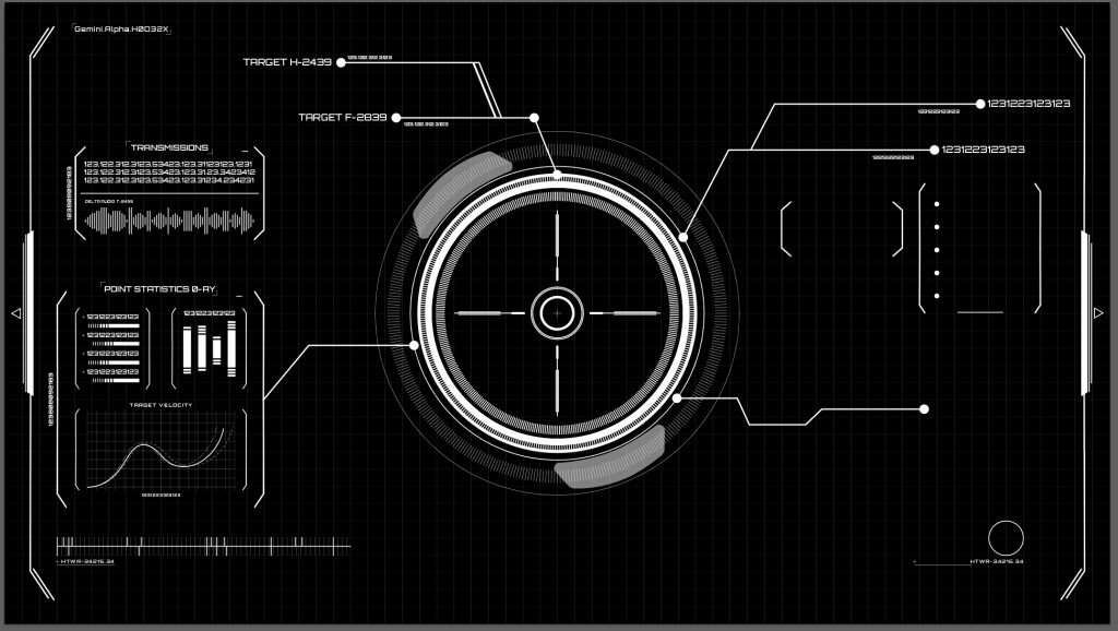Early black and white mockup of HUD
