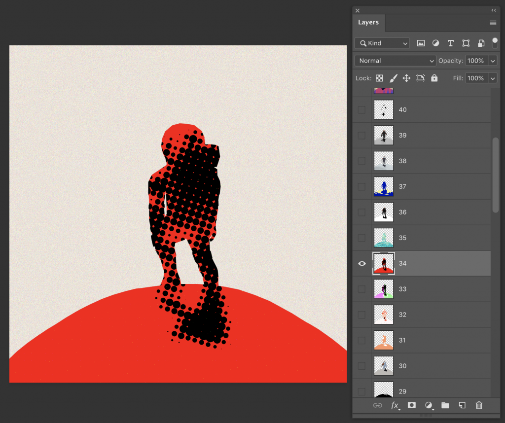 Image of a red silhouette of the character