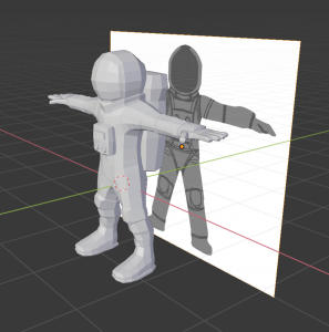 image of 3D model next to character sketch