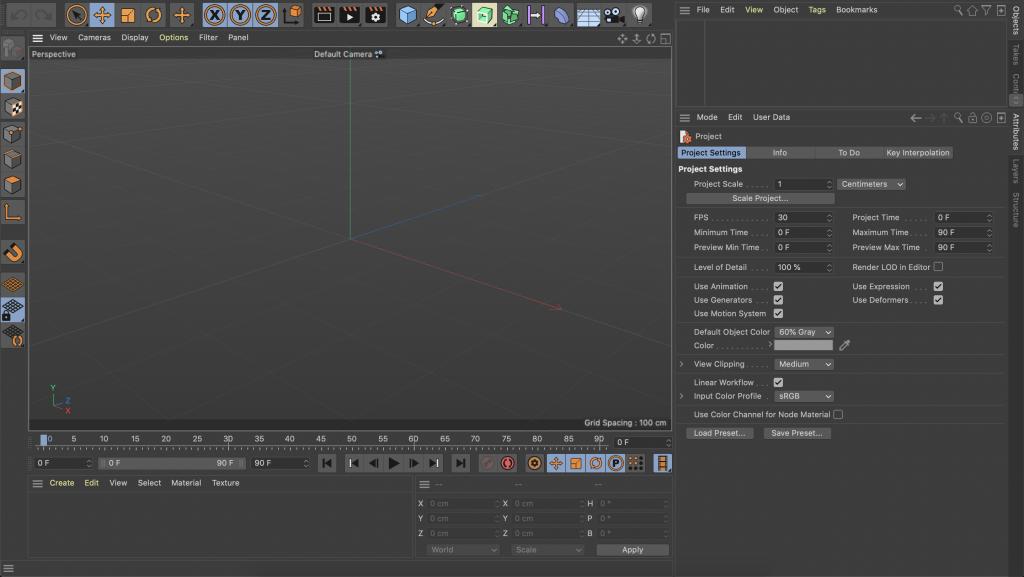 User interface of Cinema 4D Lite